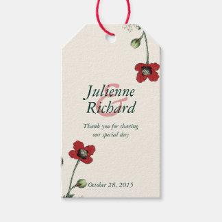 "Poppy vintage wedding ""Thank You"" favour gift tag"