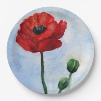Poppy Watercolor Custom Paper Plates 9 in 9 Inch Paper Plate