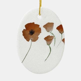 Poppy Watercolour Christmas Ornament