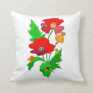 Poppy with Cartoon Bugs Cushion
