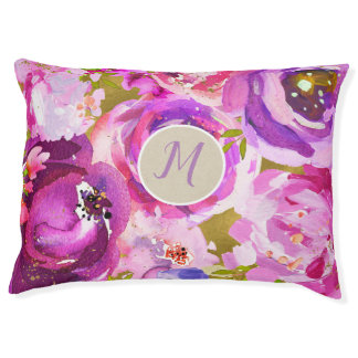 Pops Of Pink Purple Gold Modern Floral Chic Pet Bed