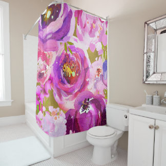 Pops Of Pink Purple Gold Modern Trendy Floral Chic Shower Curtain