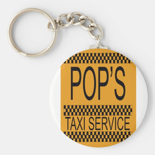 Pop's Taxi Service Basic Round Button Key Ring