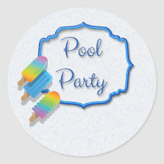 Popsicle Pool Party Classic Round Sticker