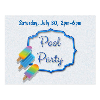 Popsicle Pool Party Postcard