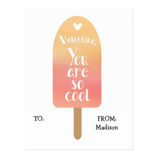 Popsicle School Classroom Valentine Cards for Kids Postcard
