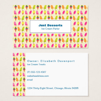 Popsicles and Ice Cream Colorful Summer Pattern Business Card