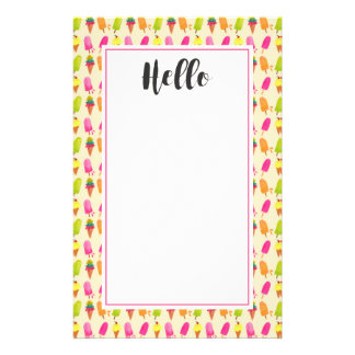 Popsicles and Ice Cream Colorful Summer Pattern Customized Stationery