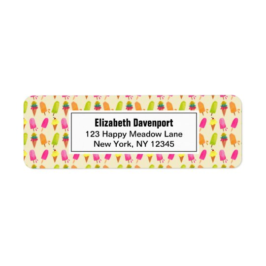 Popsicles and Ice Cream Colourful Summer Pattern Return Address Label