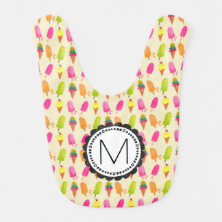 Popsicles and Ice Cream Cones Custom Monogram Bib