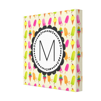 Popsicles and Ice Cream Cones Custom Monogram Canvas Print