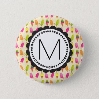 Popsicles and Ice Cream Personalized Monogram 6 Cm Round Badge