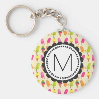 Popsicles and Ice Cream Personalized Monogram Basic Round Button Key Ring