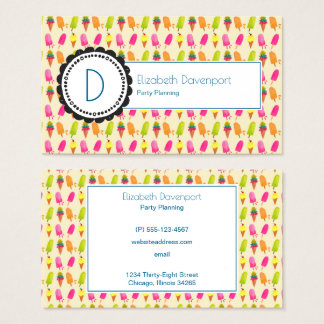 Popsicles and Ice Cream Personalized Monogram Business Card