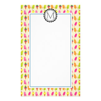 Popsicles and Ice Cream Personalized Monogram Customized Stationery