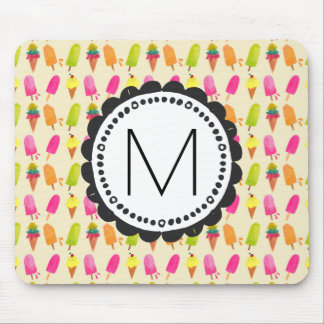 Popsicles and Ice Cream Personalized Monogram Mouse Mat
