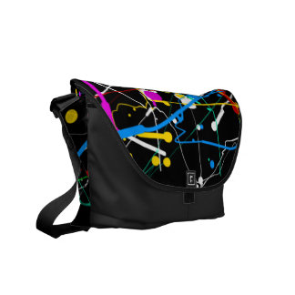 Popular Abstract Colors Black Rickshaw Bag Courier Bags