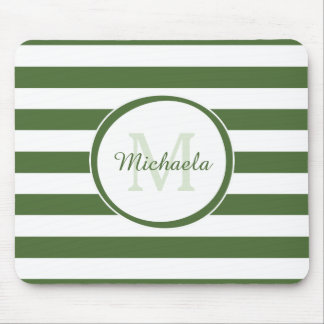 Popular Deep Green Monogram With Large Stripes Mouse Pad