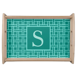 Popular Geometric Pattern Monogram Teal Serving Tray