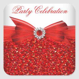 Popular Luxury Glitter Red  Bow Sticker