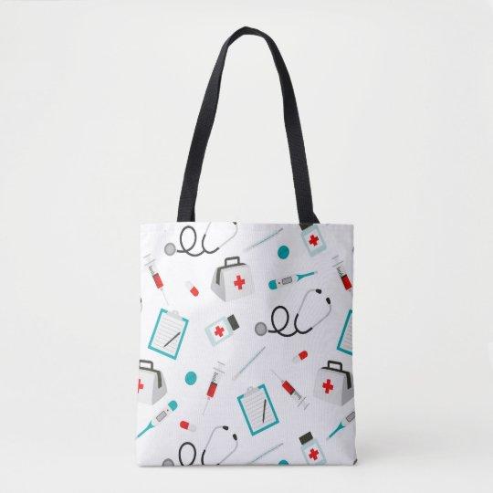 Popular Nurse pattern womens fun tote bag