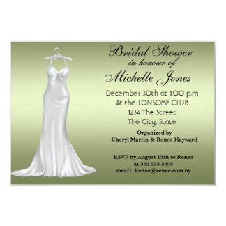 Popular Olive Green Bridal Shower Olive Green 9 Cm X 13 Cm Invitation Card