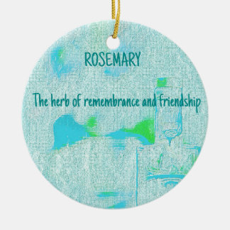 Popular Teal Rosemary Friendship Quote Round Ceramic Decoration