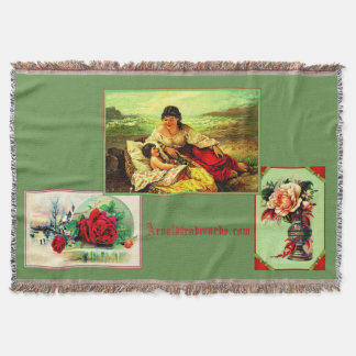 Popular trade cards warm you year 'round throw blanket