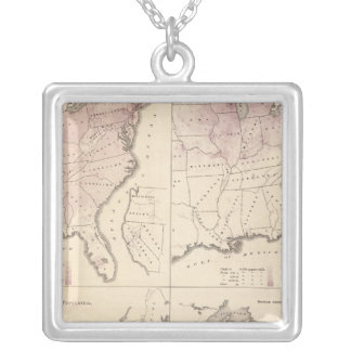Population and Density - United States Census 1870 Silver Plated Necklace