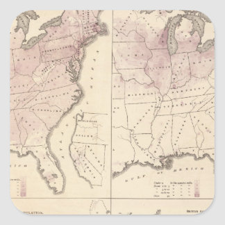 Population and Density - United States Census 1870 Square Sticker