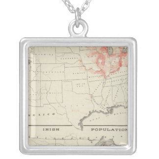 Population United States census Silver Plated Necklace