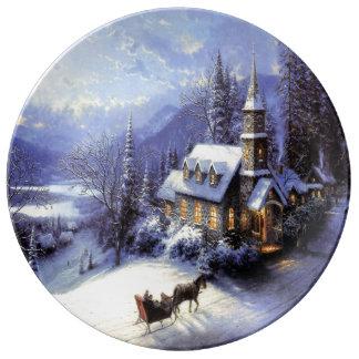 Porcelain Christmas Cake Plate