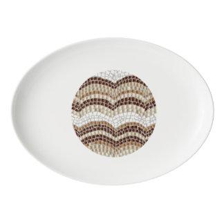 Porcelain coupe platter with beige mosaic porcelain serving platter