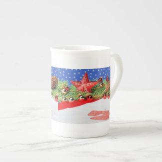Porcelain cup glad Christmas holidays