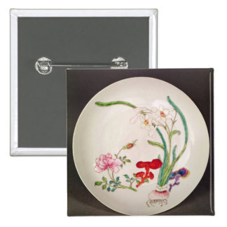 Porcelain dish, famille rose decoration, Yung Chen Pinback Button