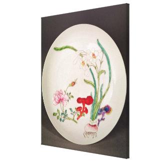 Porcelain dish, famille rose decoration, Yung Chen Canvas Print