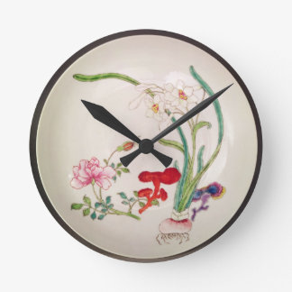 Porcelain dish, famille rose decoration, Yung Chen Round Clock