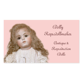 Porcelain doll with choice of background color pack of standard business cards