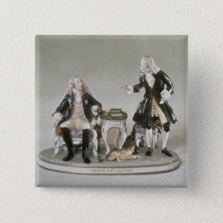 Porcelain figure of Frederick II of Prussia 15 Cm Square Badge