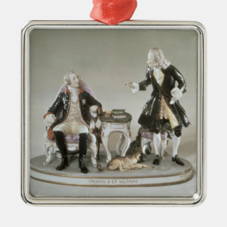 Porcelain figure of Frederick II of Prussia Silver-Colored Square Decoration