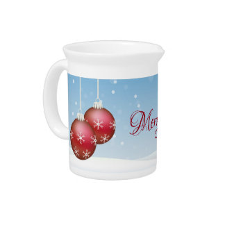 Porcelain Pitcher for Holidays Red Ornaments