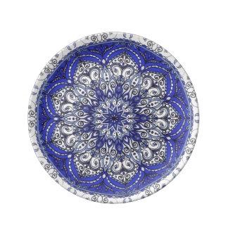 Porcelain plate Blue and White Mandala Design