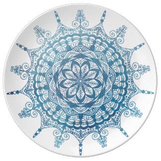 Porcelain Plate Blue Mandala Design