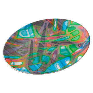 Porcelain Plate Colorful Stained Glass