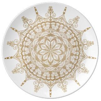 Porcelain Plate Golden Mandala Design