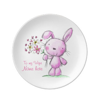 ♥PORCELAIN PLATE ♥ WIFE cute pink bunny rabbit