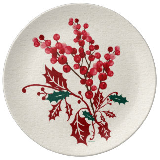 Porcelain Plate Winter Christmas Bouquet
