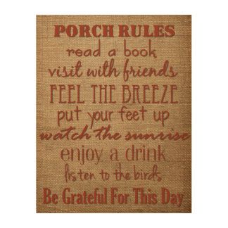 Porch Rules - Home Decor Sign