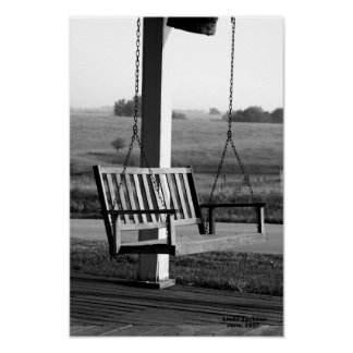 Porch Swing, black and white Poster