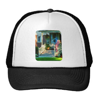 Porch With American Flag Mesh Hats